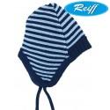 Reiff - Bio Baby Mütze Wolle marine/hellblau