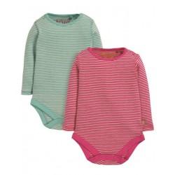 frugi - Bio Baby Body Doppelpack gestreift mit Ajour-Muster