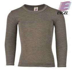 ENGEL - Bio Kinder Unterhemd langarm, Wolle/Seide, walnuss