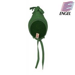 ENGEL - Bio Baby Fleece Mütze mit Puschel, Wolle, grün