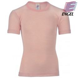 ENGEL - Bio Kinder Unterhemd kurzarm, Wolle/Seide, pastelpink/natur