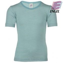 ENGEL - Bio Kinder Unterhemd kurzarm gestreift, Wolle/Seide, pastelblau/natur