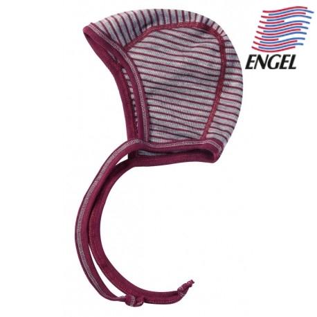 ENGEL - Bio Baby Mütze gestreift, Wolle/Seide, hellgrau/orchidee
