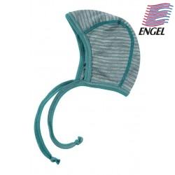 ENGEL - Bio Baby Mütze gestreift, Wolle/Seide, hellgrau/eisvogel