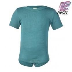 ENGEL - Bio Baby Body kurzarm, Wolle/Seide, eisvogel