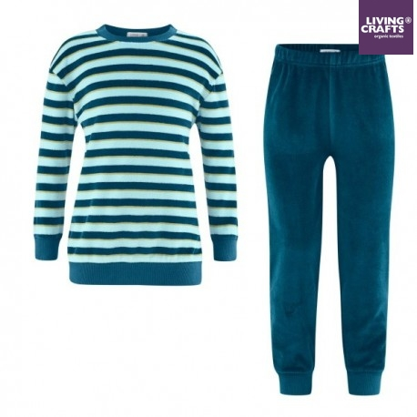 LIVING CRAFTS - Bio Kinder Nicki Schlafanzug langarm, petrol