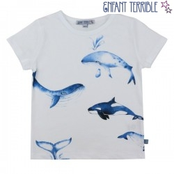 Enfant Terrible - Bio Kinder T-Shirt mit Wal-Motiv, weiß