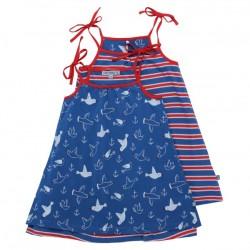 Enfant Terrible - Bio Kinder Jersey Wende Kleid mit Möwen und Streifen