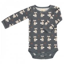 Pigeon - Bio Baby Body mit Waschbär-Motiv, blau