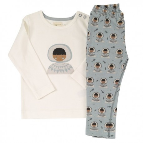 Pigeon - Bio Kinder Schlafanzug mit Eskimo-Motiv, blau