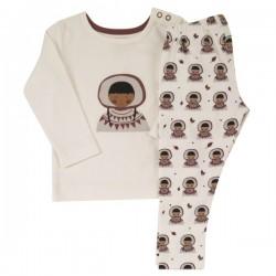 Pigeon - Bio Kinder Schlafanzug mit Eskimo-Motiv, weiß