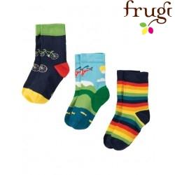 """frugi - Kinder Strümpfe 3er-Pack """"Rock my Socks"""" Fahrrad, Hubschrauber und Streifen"""