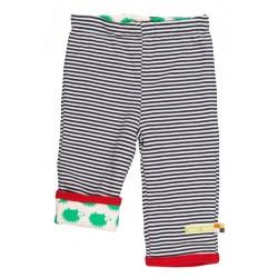 loud + proud - Bio Baby Wende Sweathose mit Streifen und Igel-Motiv, blau