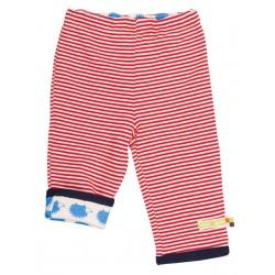 loud + proud - Bio Baby Wende Sweathose mit Streifen und Igel-Motiv, rot