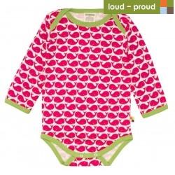 loud + proud - Bio Baby Body langarm mit Wal-Druck, rosenrot