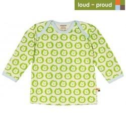 loud + proud - Bio Baby Langarmshirt mit Löwen-Druck, limette