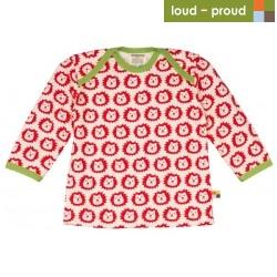 loud + proud - Bio Baby Langarmshirt mit Löwen-Druck, rot
