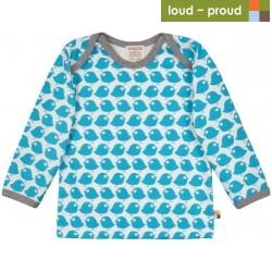 loud + proud - Bio Baby Langarmshirt mit Vogel-Druck, petrol