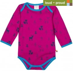 loud + proud - Bio Baby Body langarm mit Wald-Druck, Woll-Anteil, fuchsia
