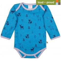 loud + proud - Bio Baby Body langarm mit Wald-Druck, Woll-Anteil, petrol