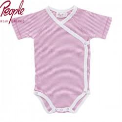 People Wear Organic - Bio Baby Wickelbody kurzarm mit Streifen, rosa