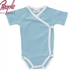 People Wear Organic - Bio Baby Wickelbody kurzarm mit Streifen, grün