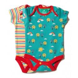 Little Green Radicals - Bio Baby Body Doppelpack mit Regenbogen-Motiv und Streifen