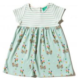 Little Green Radicals - Bio Baby Jersey Kleid mit Fahrrad-Motiv und Streifen