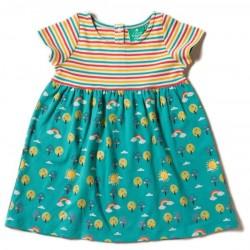 Little Green Radicals - Bio Baby Jersey Kleid mit Regenbogen-Motiv und Streifen