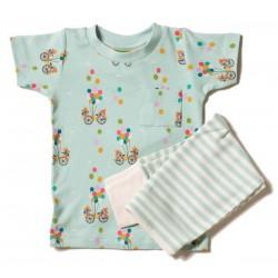 Little Green Radicals - Bio Baby Set Shirt und Hose mit Fahrrad-Motiv und Streifen