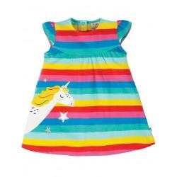 """frugi - Bio Baby Jersey Kleid """"Little Lola"""" mit Einhorn-Applikation und Streifen"""