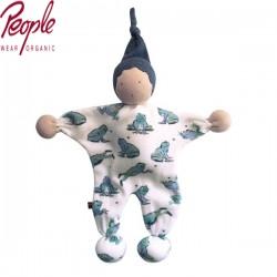 People Wear Organic - Bio Manderl Puppe, Frosch-Allover 22cm