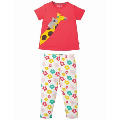 """frugi - Bio Kinder Schlafanzug """"Lila"""" mit Giraffen-Motiv"""