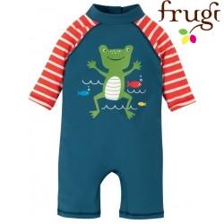 """frugi - Baby Schwimmanzug """"Little Sun"""" mit Frosch-Motiv, UPF 50+"""