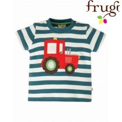 """frugi - Bio Baby Langarmshirt """"Little Wheels"""" mit Traktor-Applikation und Streifen"""