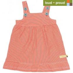 loud + proud - Bio Baby Jersey Kleid mit Streifen, sunrise