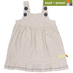 loud + proud - Bio Baby Jersey Kleid mit Streifen, grau