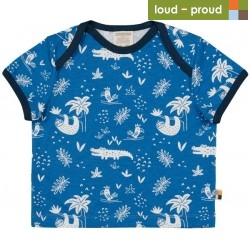 loud + proud - Bio Kinder T-Shirt mit Urwald-Allover, hellblau