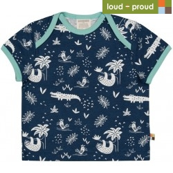 loud + proud - Bio Kinder T-Shirt mit Urwald-Allover, marine