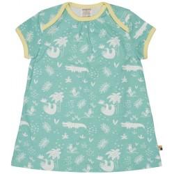 loud + proud - Bio Baby Jersey Kleid mit Dschungel-Druck, mint