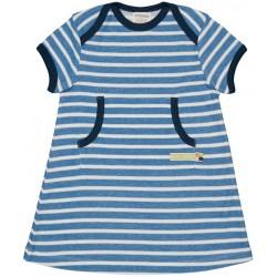 loud + proud - Bio Kinder Jersey Kleid mit Streifen, cobald