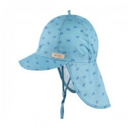 pure pure by BAUER - Bio Kinder Mütze mit Nackenschutz und Schirm mit Krabben-Motiv, UPF 30-35, blau