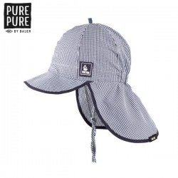 pure pure by BAUER - Bio Kinder Mütze mit Nackenschutz und Schirm mit Karo-Muster, UPF 30-35, blau