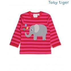 Toby tiger - Bio Baby Langarmshirt mit Elefanten-Motiv und Streifen, rosa