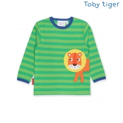 Toby tiger - Bio Kinder Langarmshirt mit Löwen-Applikation und Streifen