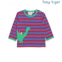 Toby tiger - Bio Kinder Langarmshirt mit Dino-Applikation und Streifen