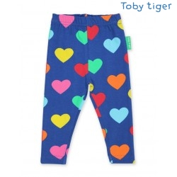 Toby tiger - Bio Kinder Leggings mit Herzen-Allover