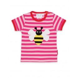 Toby tiger - Bio Kinder T-Shirt mit Bienen-Applikation und Streifen