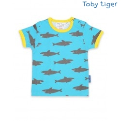 Toby tiger - Bio Kinder T-Shirt mit Hai-Allover