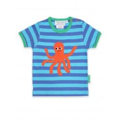 Toby tiger - Bio Kinder T-Shirt mit Kraken-Applikation und Streifen